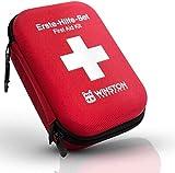 Winston Protection ®️ Erste Hilfe Set - Erste Hilfe im 30-teiligen Set mit Zeckenzange und Pinzette - Inhalt nach DIN Norm - 2 Karabinerhaken und Gürtelschlaufe - Anleitung zu Ersthilfe bei Unfällen