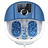 Foot Spa Bath with Heat and Massage and Bubbles, Foot Bath Massager w/16 Motorized Shiatsu Rollers,Digital Temperature Control,Red Light,Pedicure Foot Soaker w/Warm Water Soothe Tired Feet Home Use