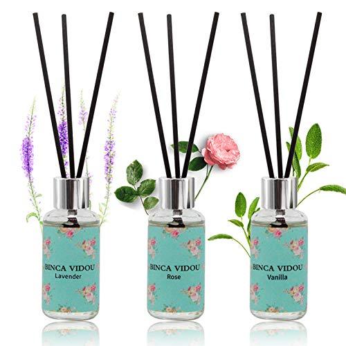 Reed Diffuser Set of 3, binca vidou Lavender, Rose, Vanilla Fragrance Reed Oil Diffuser Set with Rattan Reeds for Office Bathroom Living Room 30ml/1.01fl.oz