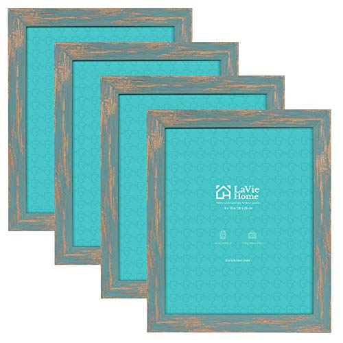 LaVie Home 8x10 Picture Frames (4 Packs, Teal) Wooden Textured Finish Photo Frame with High Definition Glass for Wall Mount & Tabletop Display, Set of 4 Zest Collection