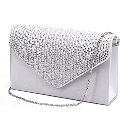 Envelope Type Evening Clutch Crossbody In Silver