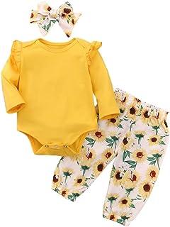 Conjunto de Ropa de bebé para niña, Conjunto de Mameluco, Pantalones Florales de Manga Larga, Diadema, 3 Piezas, niño