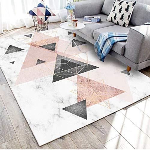 qijidzswyxgs Tapis Design Moderne Rug Géométrie Rose Noir Gris Or Blanc Cozy Antidérapant Salon Chambre Tapis Salon tradtionnel Carpet 120x170CM