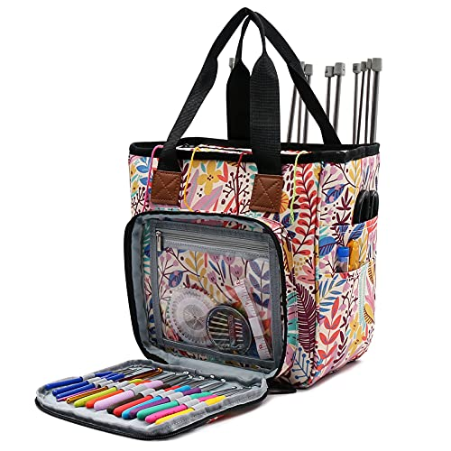 SumDirect Yarn Bag, Knitting Organizer Tote Bag Portable Storage Bag for Yarns, Carrying Projects, Knitting Needles, Crochet Hooks, Manuals and Other Accessories (Forest)