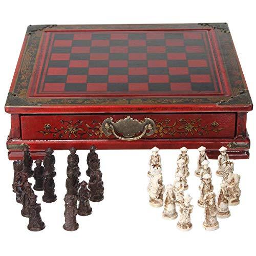 Schachbrett Schach Holztisch Schach Chinesische Schachspiele Harz Schachfigur Weihnachten Geburtstag Premium Geschenke Unterhaltung Brettspiel, 26x25.5x6.5CM Traditionelle Schachspiel