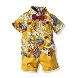 Motteecity Fashion Boys Hawaiian Vacation Style Bow-tie Polo Shirt and Ripped Pants (4T, Yellow)