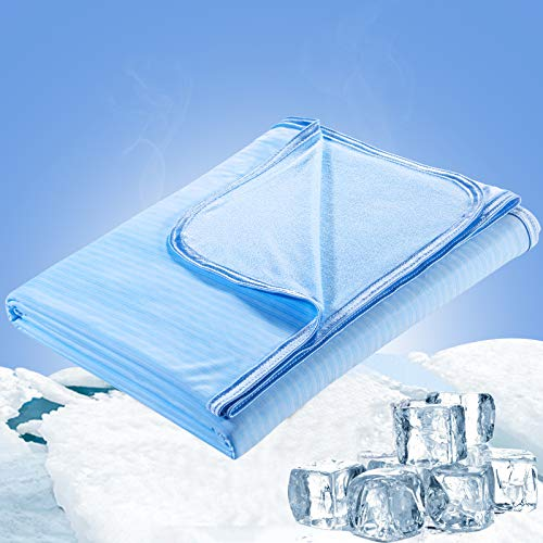 Luxear Cooling Blanket for Sleeping, Double-Sided Lightweight Summer Blankets for Hot Sleepers, Arc-Chill Cooling Blanket, Oeko-TEX Certificate, Q-Max0.34 Cooling Fiber, 100% Bamboo Material, Blue