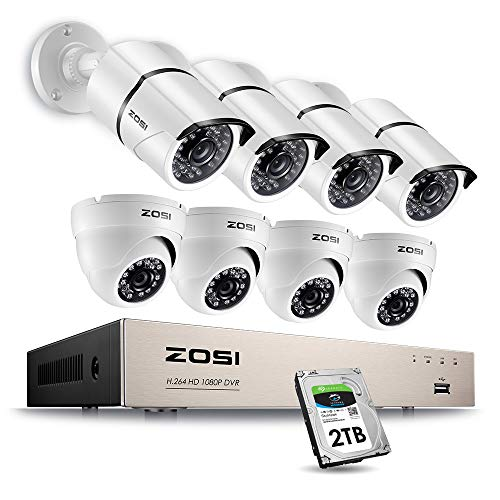 ZOSI Full 1080p HD 8-Channel Video Security System DVR with 8pcs Indoor/Outdoor 2.0MP 1080p ...