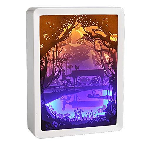 XZYP Papercut Leuchtkästen, ABS-Rahmen Papercut Leuchttischen Nachtlichter Papier Skulpturen Nachtlicht-Lampe Der Kreativen Schatten Gemälde (Hand in Hand),C
