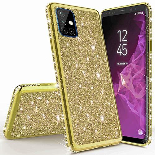 Miagon für Samsung Galaxy M51 Glitzer Hülle,Bling Überzug Glänzend Strass Diamant Weich TPU Silikon Handy Hülle Etui Tasche Schutzhülle Case Cover