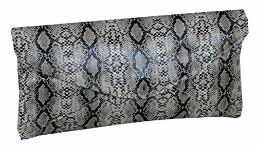 Taschentrend Medussa - stylischer LongFormat Python-Look Clutch Abendtasche mit abnehmbarer Kette Abendmode Party Schlangen-Look 19x14x5 cm (B x H x T)
