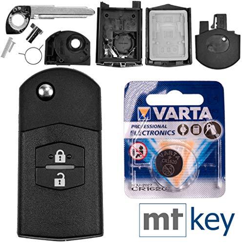 Autoschlüssel Funk Fernbedienung Austausch Gehäuse mit 2 Tasten + Rohling + Batterie kompatibel mit Mazda 5 CW 2 DE 3 BK 6 SW BT-50 CX-9 CX-7 A