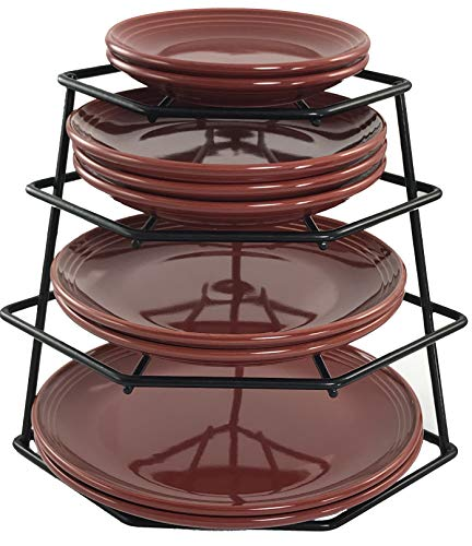 Buckingham 4 Tier Corner Plate, Cabinet Organiser, Storage Rack, Space Saver-Premium Quality, Steel, Black, 23 x 23 x 26 cm