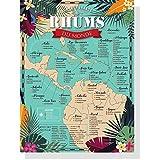 Carte des Rhum du monde 30x40cm - distilleries - vintage poster - affiche vintage