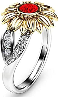 Rings Fashion Female Cute Sunflower Crystal Rings for Women, Ring Size:9(White) Rings (Color : Red)