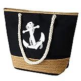 flintronic® Bolsa de Playa para Mujer, Totalizador de Lona de Verano, Bolso Grande con Asa de Cuerda para Playa, día de Fiesta, Compras, Viajes Diseño del Patrón de Anclaje - Negro