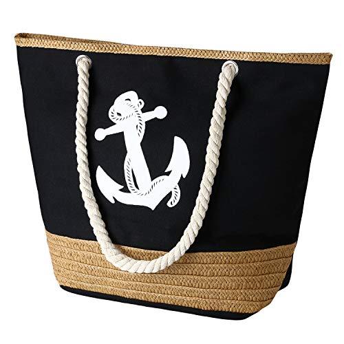flintronic Große Strandtasche mit Reißverschluss und Innentasche Wasserdicht Strandtasche, Einkaufstasche Shopper für Damen, Schultertasche Einkaufstasche - Schwarz