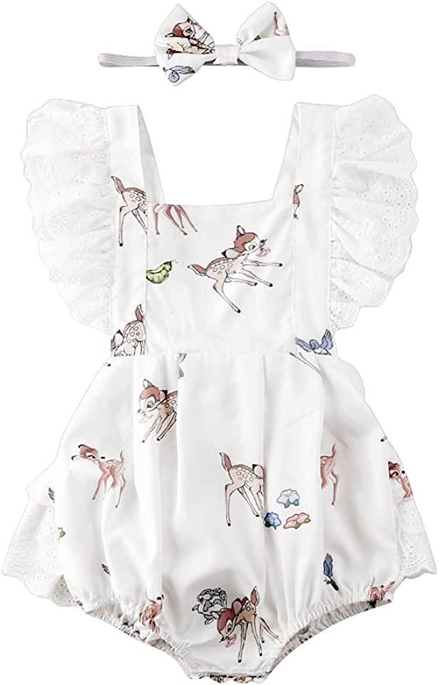 Baby Girl White Ruffle Sleeve Romper with Fawn Print
