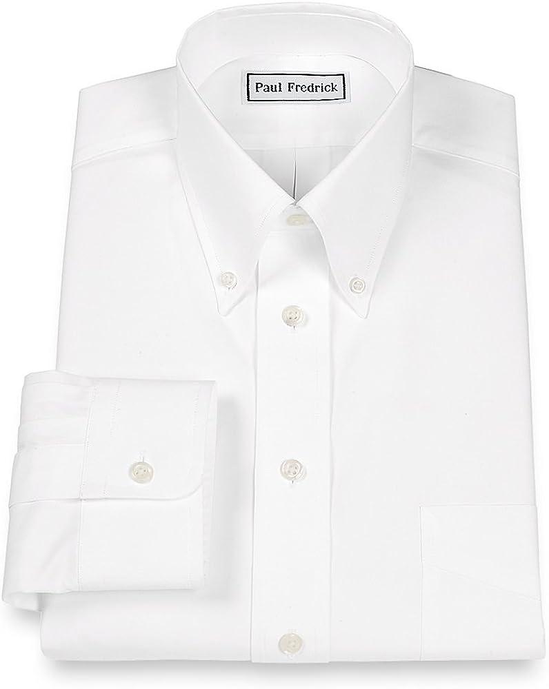 Paul Fredrick Men's 2-Ply Cotton Button Down Collar Button Cuff Dress Shirt