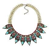 YAZILIND Mujeres Collar Turquesa Dorado acrílico Retro Boho étnico joyería clavícula Bunte extensión Collares (Verde)