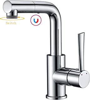 Pull out Sink Bar Faucet, Prep Sink/Small Kitchen Sink Faucet in Chrome, Farmhouse/Bathroom Faucet with Sprayer