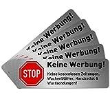 5 x Keine Werbung Aufkleber für Briefkasten (6,7 x 2,1 cm klein) - Keine kostenlosen Zeitungen und Reklame einwerfen - Briefkastenaufkleber - Selbstklebend - Edelstahl Optik