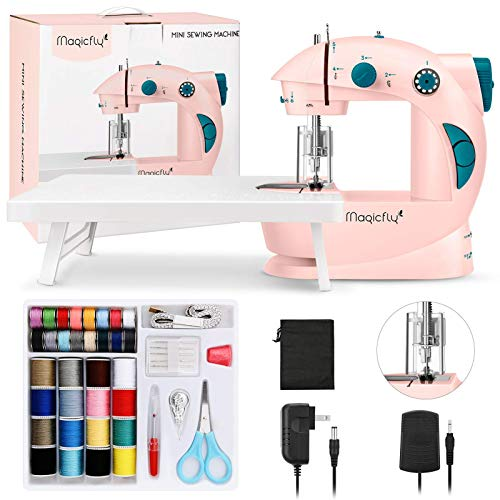 Magicfly Mini Sewing Machine for Beginner, Dual Speed Portable Children Sewing Machine with Extension Table, Light, Sewing Kit for Kids, Girl, Household, Travel, Pink (Renewed)