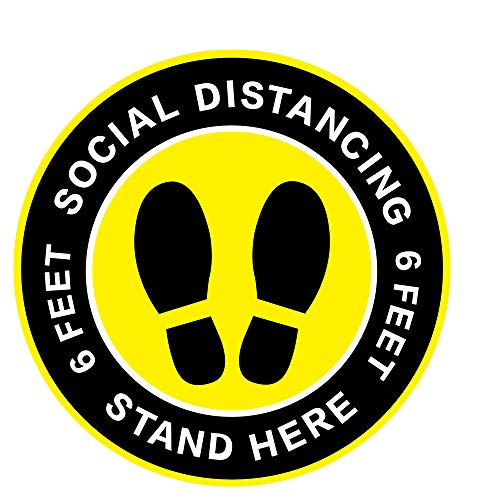 Social Distancing Floor Decal Stickers - 30 Pack 8' Yellow Stand Distancing Decal - Wait Here Sign Distance of 6 Feet Sticker Markers, for Crowd Control Guidance, Grocery, Pharmacy, Bank, Lab
