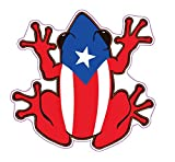 WickedGoodz Puerto Rican Flag Frog Vinyl Decal - Tree Frog Bumper Sticker - Proud Puerto Rico Sticker