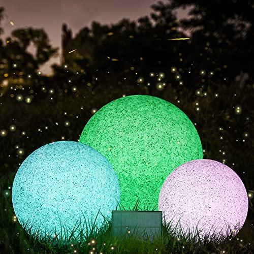 1x LED Solar Garten Kugel Außen Beleuchtung mit Erdspieß Fernbedienung Solar Kugelleuchte Solarleuchte Gartenlampe für Boden Wege Terrassen Rasen Pool 20cm