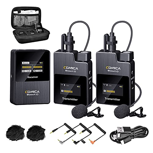 Wireless Lavalier Microphone,Comica BoomX-D2 2.4G Compact Wireless Lapel Microphone System with 2 Transmitter and 1 Receiver,Lav Mic for Smartphone Camera Podcast Interview YouTube Facebook Live