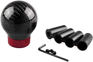 LEIWOOR Shift Knob Ball Gear Shifter Carbon Fiber Universal Fit for Manual/Automatic Cars with 4 Adapters Black Ball Red Base