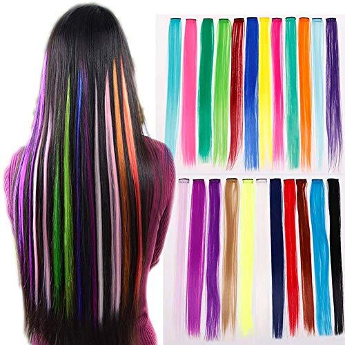 EROSPA® Bunte Haarsträhne mit Clip zum Einclipsen - 55 cm - Haarteil Extension (Pink #22)