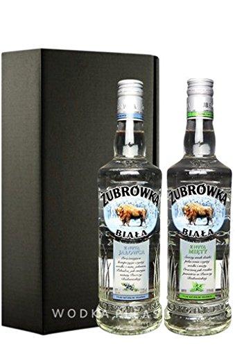 Geschenkidee Żubrówka Weiß Wacholder & Minze in Geschenkverpackung | Polnische Wodka-Besonderheit | je 0,5 Liter, 37,5% Alkoholgehalt