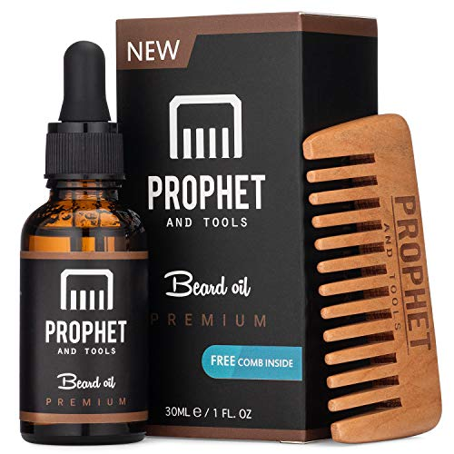 Prophet and Tools Premium Unscented Beard Oil And Comb Kit For Thicker Facial Hair Grooming - The All-In-One Conditioner And Shampoo-Like Softener, Shine And Fuller Beards & Mustache Growth Formula