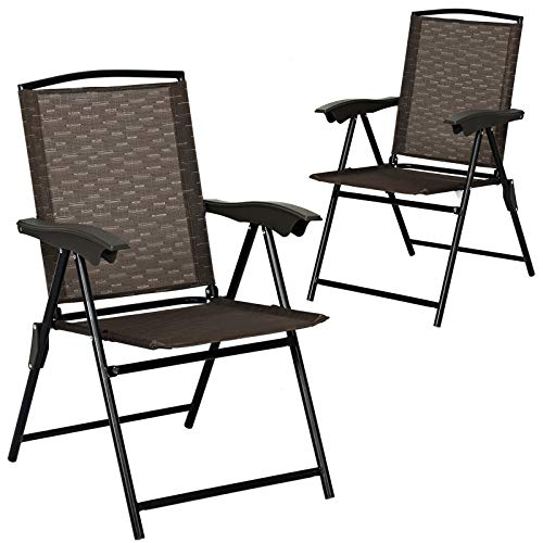 Giantex 2 Pack Patio Dining Chairs, Adjustable Sling Back Chairs with Armrest, Folding Patio Chairs Portable for Camping Garden Pool Beach, Deck Lounge Chairs