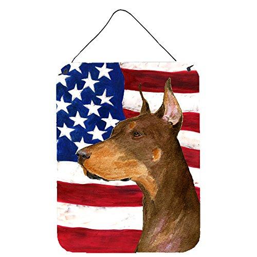 Caroline 's Treasures ss4224ds1216USA Amerikanische Flagge mit Rottweiler, Aluminium Metall Wand oder Tür Aufhängen Prints, 40,6x 30,5cm Multicolor