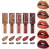 Allbesta 5 Farben Lippenstift Set Samt Matt Rot Braun Pigment Flüssige Lipgloss Wasserfest Langlebige Lipcolor Make-up Kosmetik