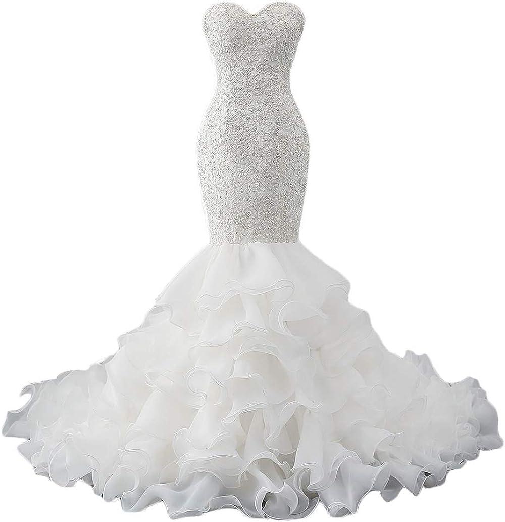 Tsbridal Mermaid Wedding Max 58% OFF Dress Beaded Sweetheart Bride NEW before selling ☆ Dresses