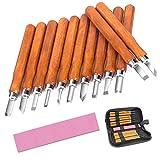 McDoo! Holz-Schnitzwerkzeug Set - 12 tlg Holzschnitzerei Meißel Set mit