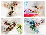 Kolibri Grußkarten–Sommer Note Karten–blanko–auf der Innenseite inkl. 12Karten & Umschläge–4Einzigartige Designs–14x 10,8cm