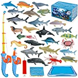 Magnetic Fishing Game Toys for Kids Fishing Rod Water Bath Toy Set for Children Floating Realistic Plastic Marine Toy Figures Over 3 Years Old Boys Girls Birthday