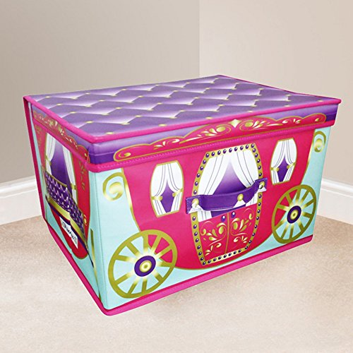 Jumbo Large Toy Book Bedding Laundry Kids Childrens Storage Box Chest - Princess Pink Carriage with Purple Lid