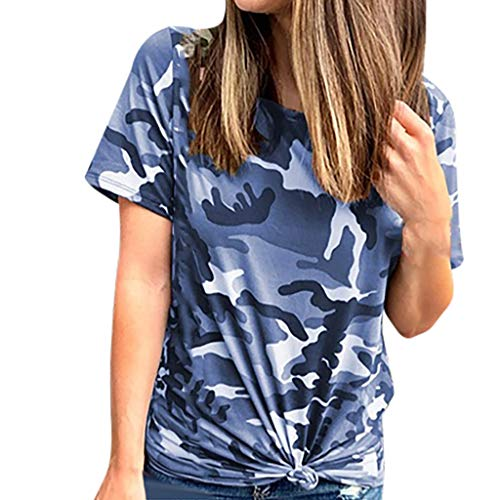Momoxi Damen 2020 Sommer Tarnungs Druck Kurzschluss Hülsen Oberseiten Sommer Casual Crewneck Tunika Hemd Camouflage Top Tank T-Shirt Blau L