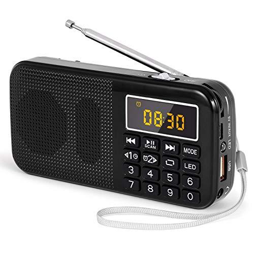PRUNUS J-725 Radio FM SD USB MP3 Portátil con Reloj Despertador, Recargable Batería de Gran Capacidad (3000mAh,reproducciones largas 30 Horas) con Linterna de Emergencia(Negra)