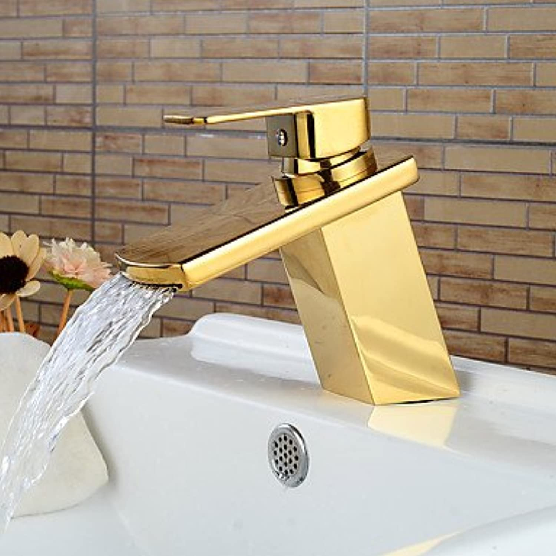 GDS Faucet£? Modern Ti-PVD Finish Waterfall Bathroom Sink Faucet (Short)- gold