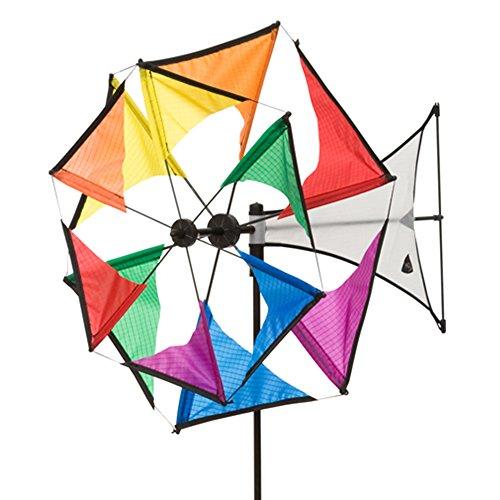 HQ Windspiration 100965 - Windmill Mini Duett Rainbow, UV-beständiges und wetterfestes Windspiel - Höhe: 102 cm, Tiefe: 49 cm , Rad-Ø: 42 cm, inkl. Standstab und Bodenanker