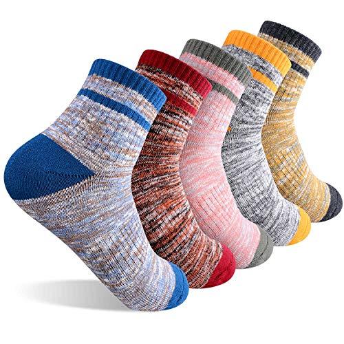 Women s Hiking Walking Socks, FEIDEER 5-pair Wicking Cushion Low Cut Ankle Quarter Socks Outdoor Recreation Socks (EU5WSS18105-L)