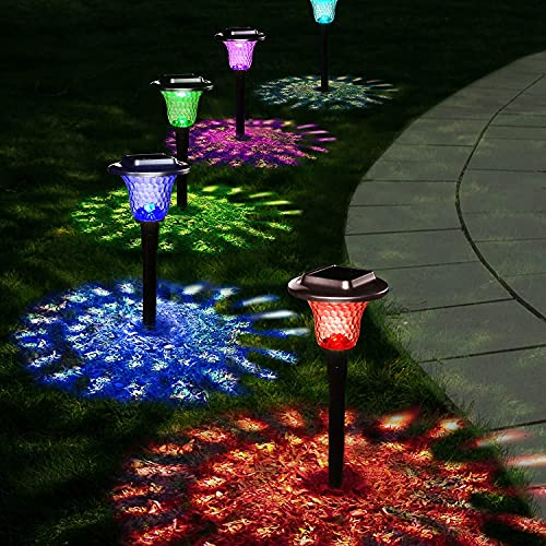 UMICKOO Solar Lights Outdoor, 8 Pack Auto Changing Solar Pathway Colorful Bright Glass Garden Lights,Waterproof Solar Powered Landscape Lights for Lawn Patio Courtyard Walkway Yard (Warm White)