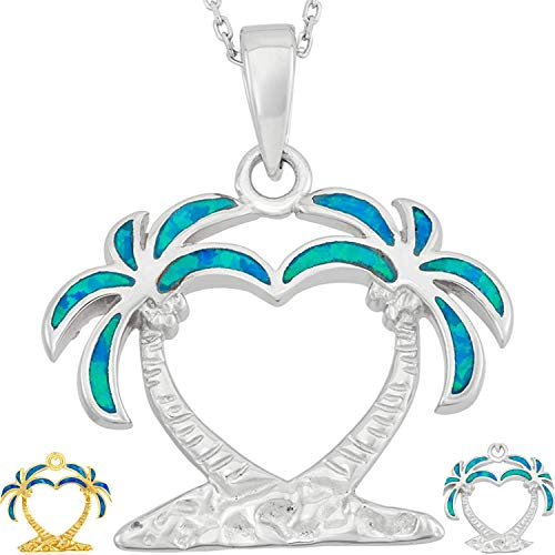 Created Blue/White Opal Heart Shaped Palm Tree Silver/14k Gold/14k Rose Gold Plated Sterling Silver Pendant 18'' Necklace Jewelry for Women or Teens